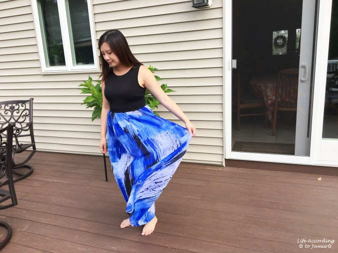 Abstract Blue Maxi Dress 11