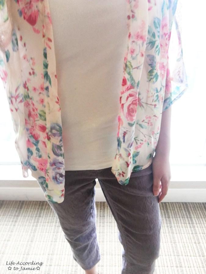 Jacquard Crop Pants + Floral Kimono 3