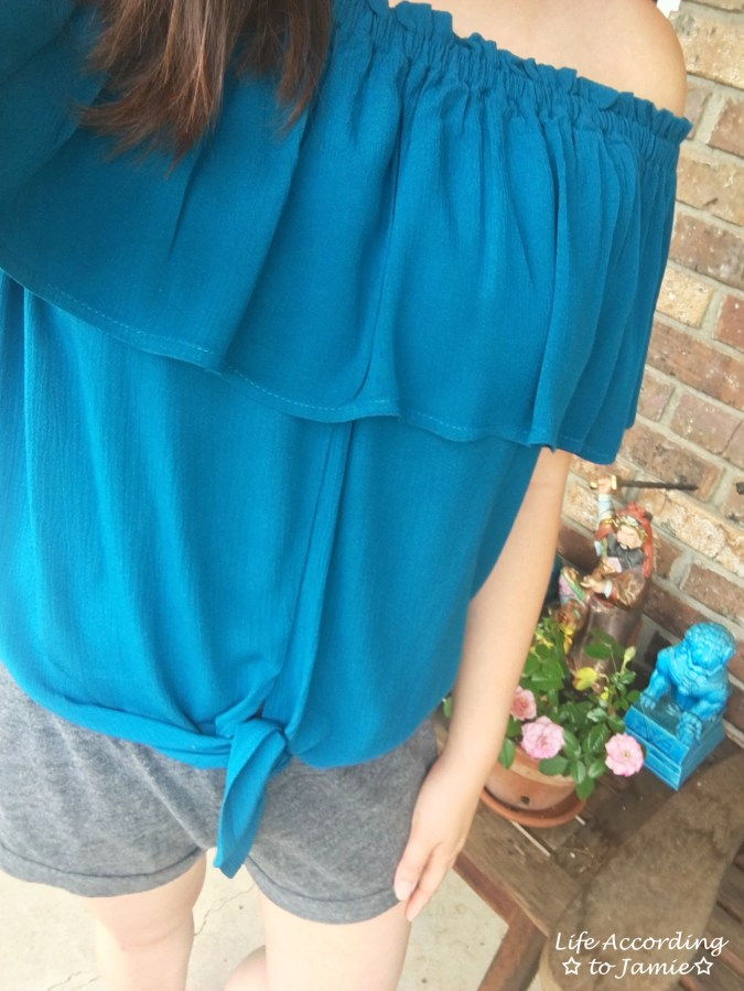 Ruffled Teal Front Tie Top 1
