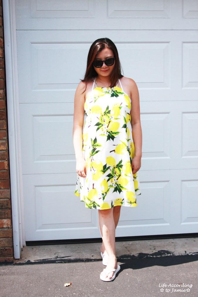 Strappy Lemon Print Dress 10