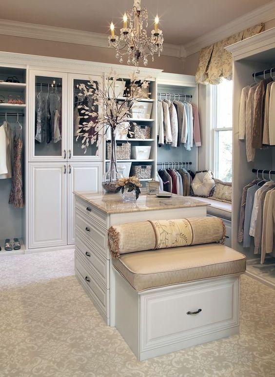 walk in closet - island + seat