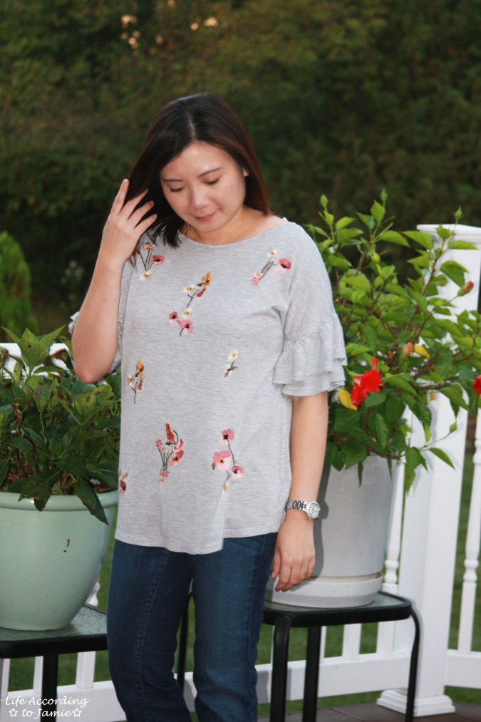 Floral Embroidered Ruffle Sleeve Top 3