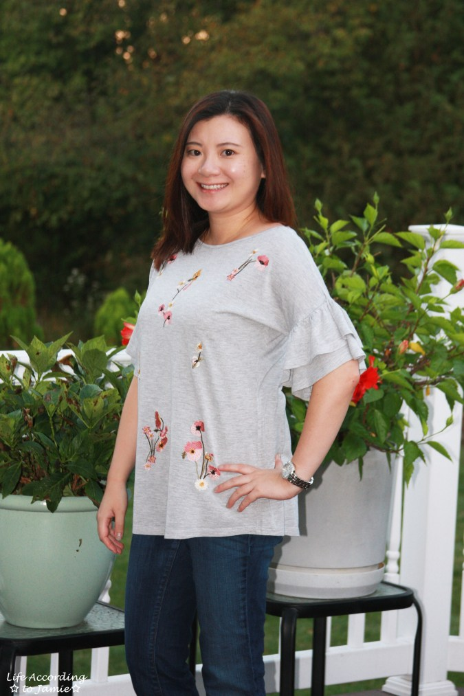 Floral Embroidered Ruffle Sleeve Top 5