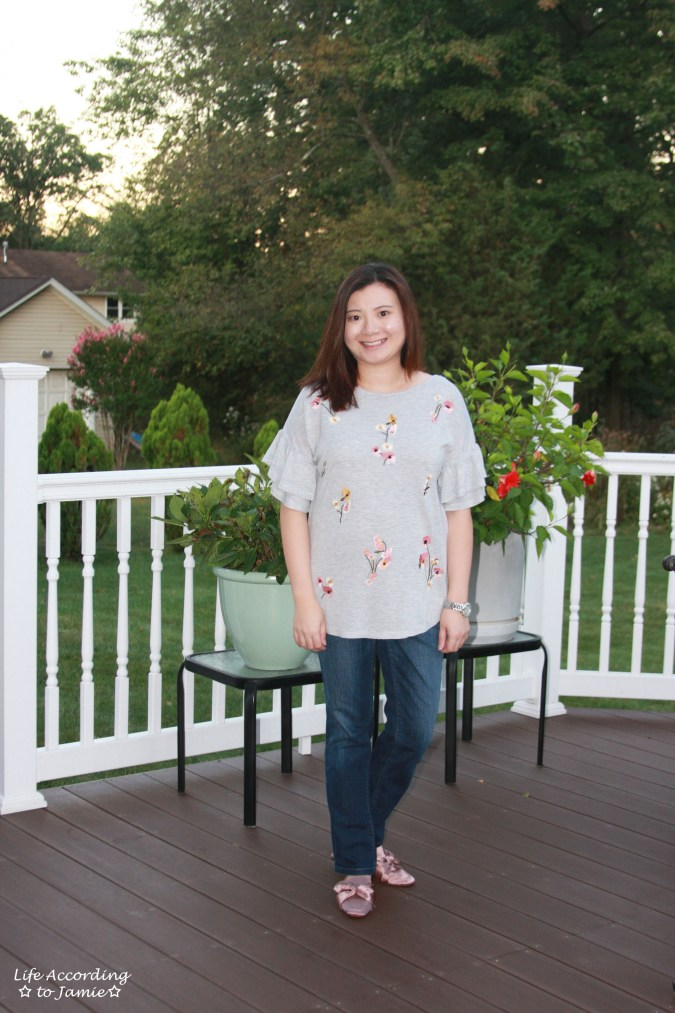 Floral Embroidered Ruffle Sleeve Top 8