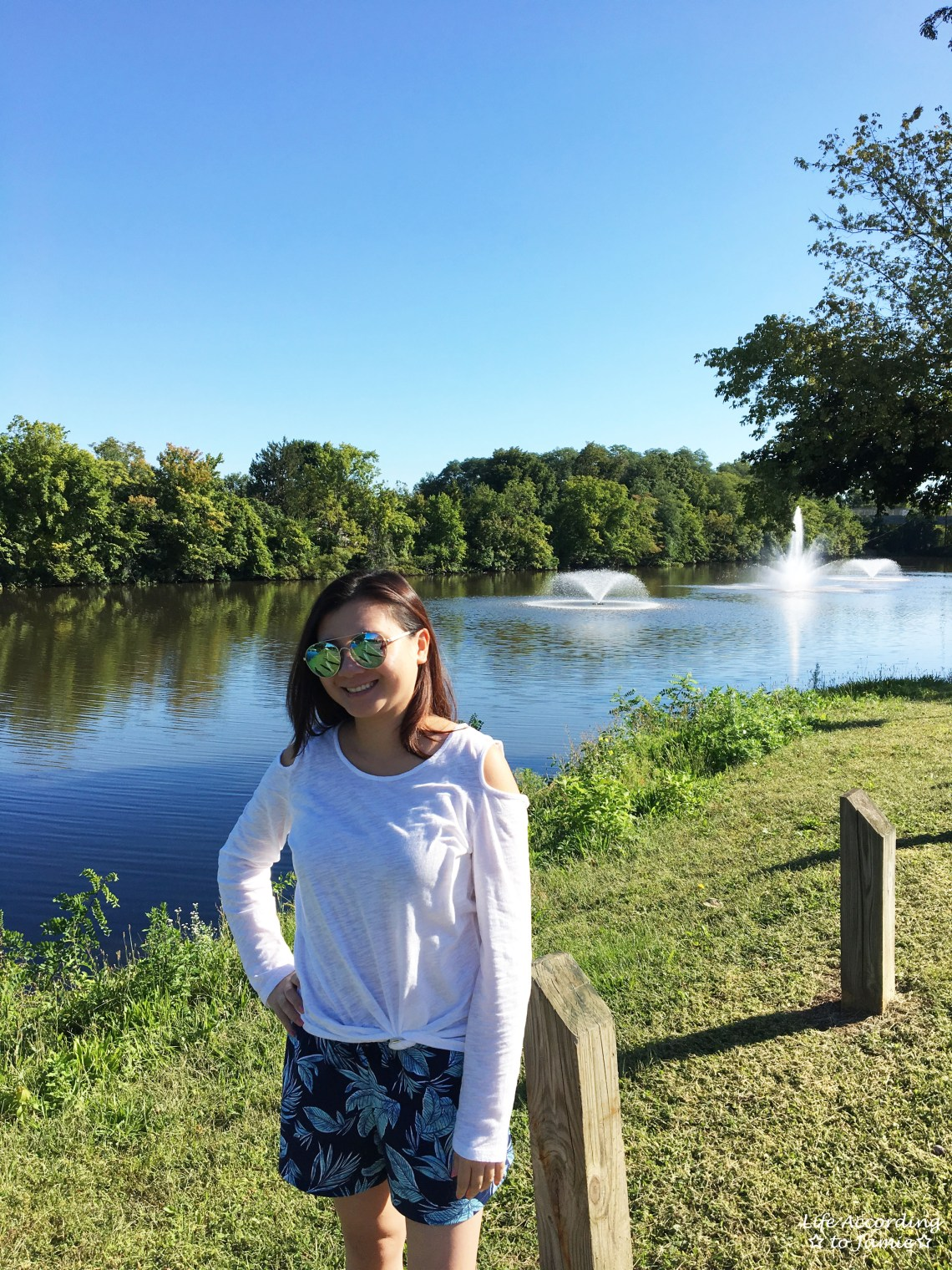White Cold Shoulder Top + Palm Print Shorts