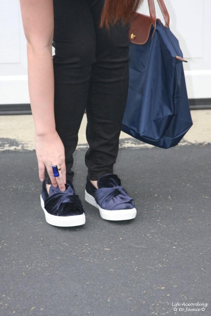 Blue Velvet Bow Sneakers 1