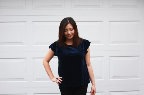 Blue Velvet Double Ruffle Top