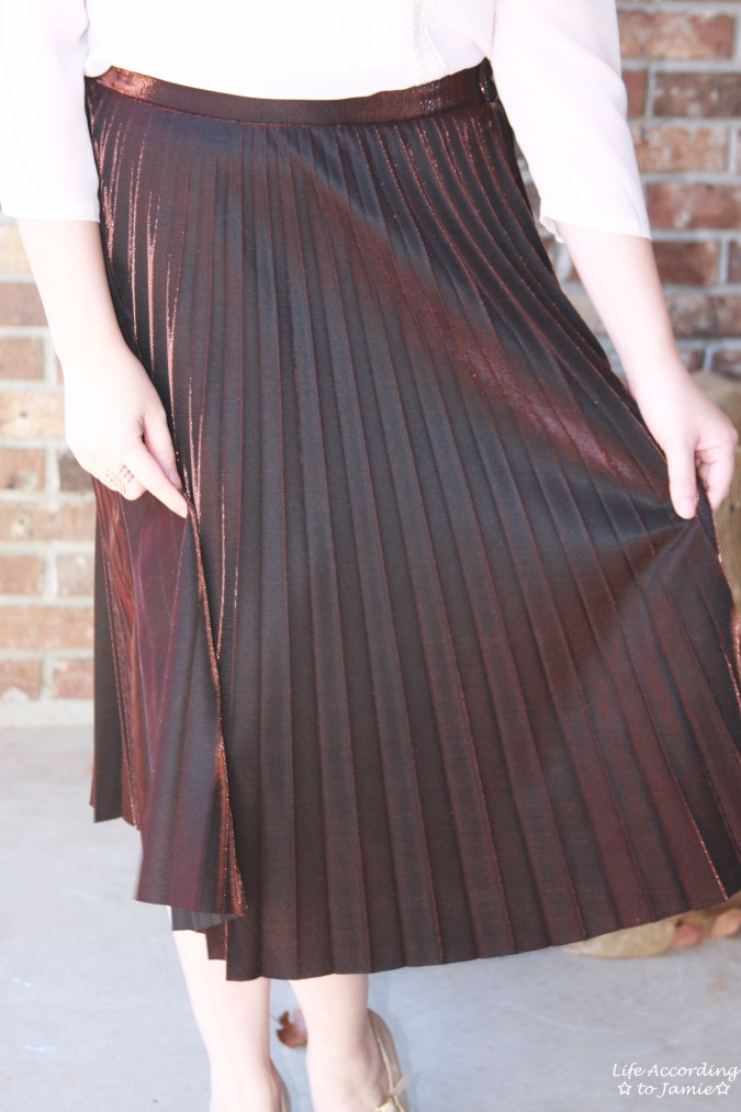 79beb191a Copper Metallic Pleated Skirt – Life According to Jamie