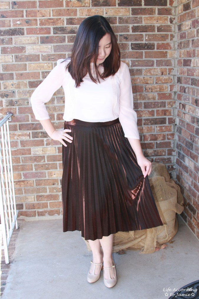 Copper Metallic Pleated Midi Skirt 4