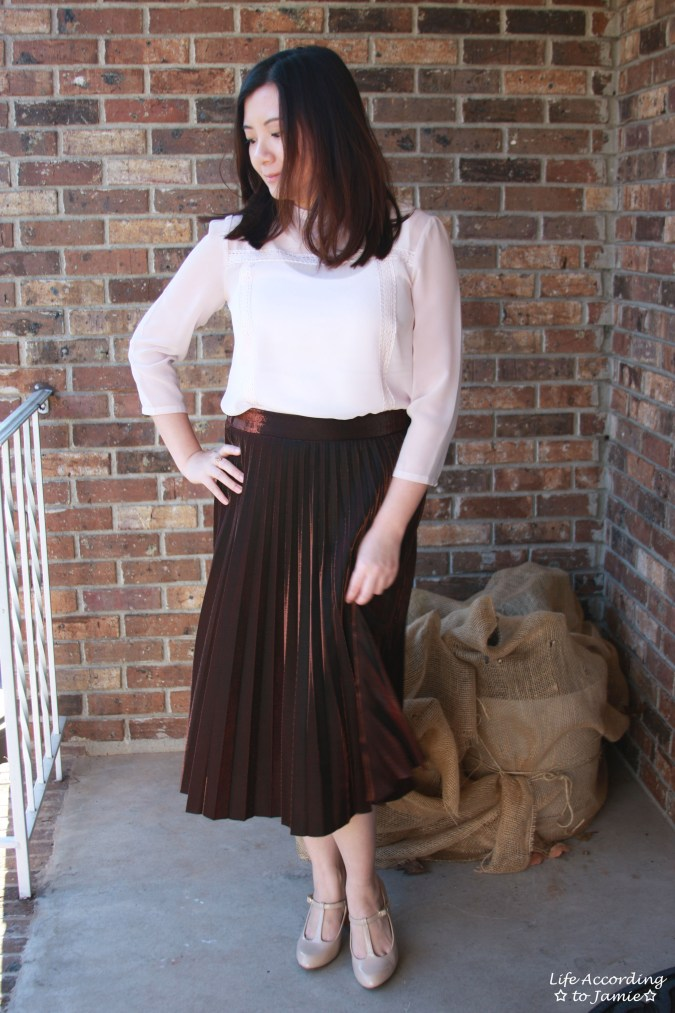 Copper Metallic Pleated Midi Skirt 5