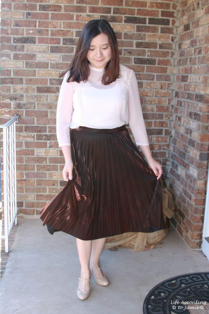 Copper Metallic Pleated Midi Skirt 9