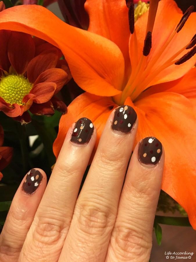 Fall Polka Dot Nails 1