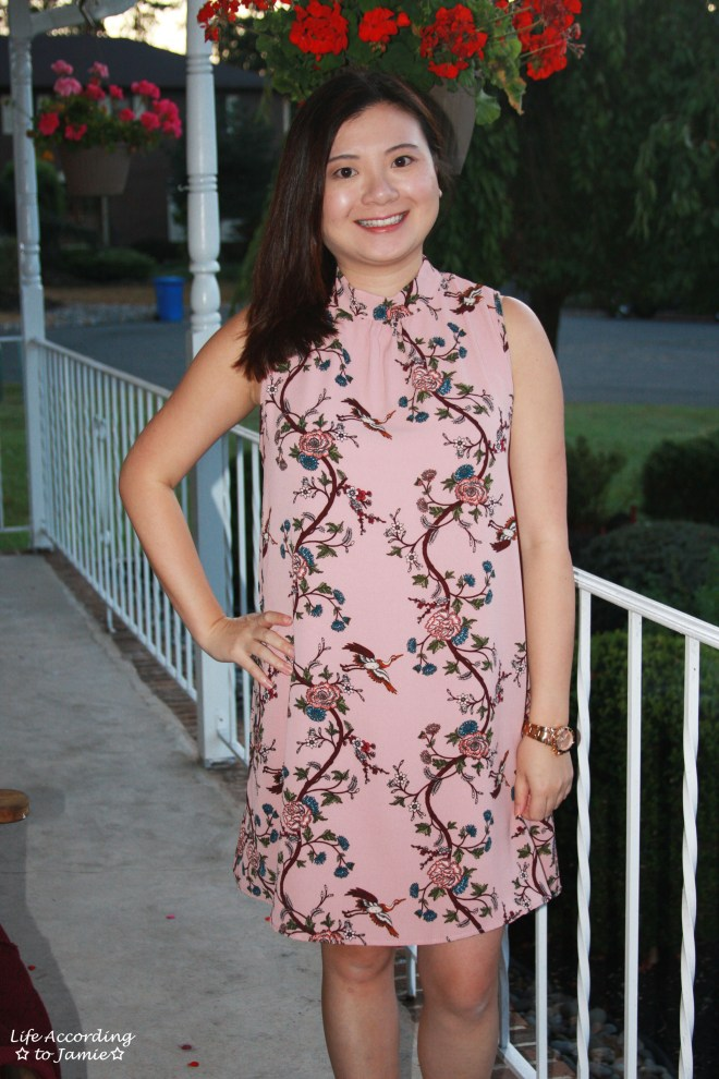 High-Neck Pink Floral Dress 9