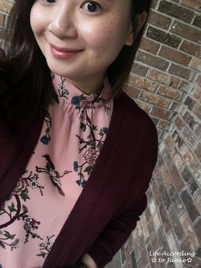 High-Neck Pink Floral Dress