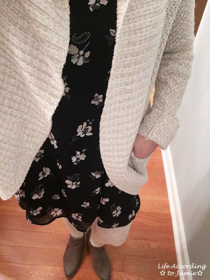 Printed Swing Dress + Chunky Cardigan 2
