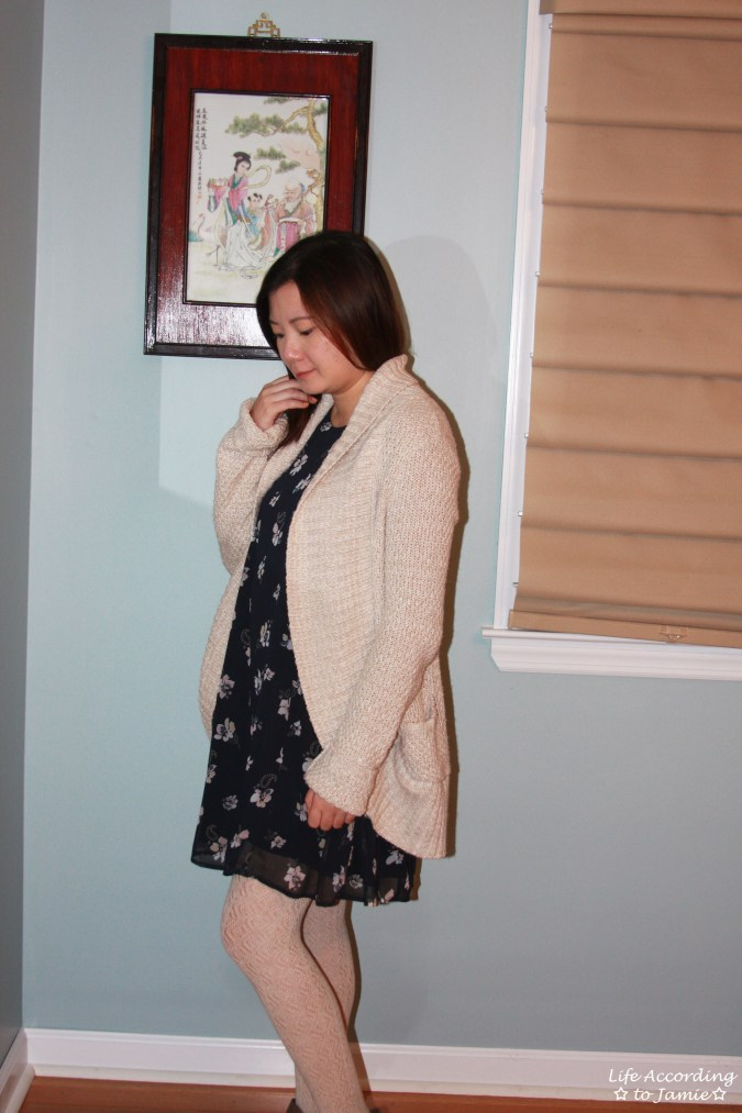 Printed Swing Dress + Chunky Cardigan 7