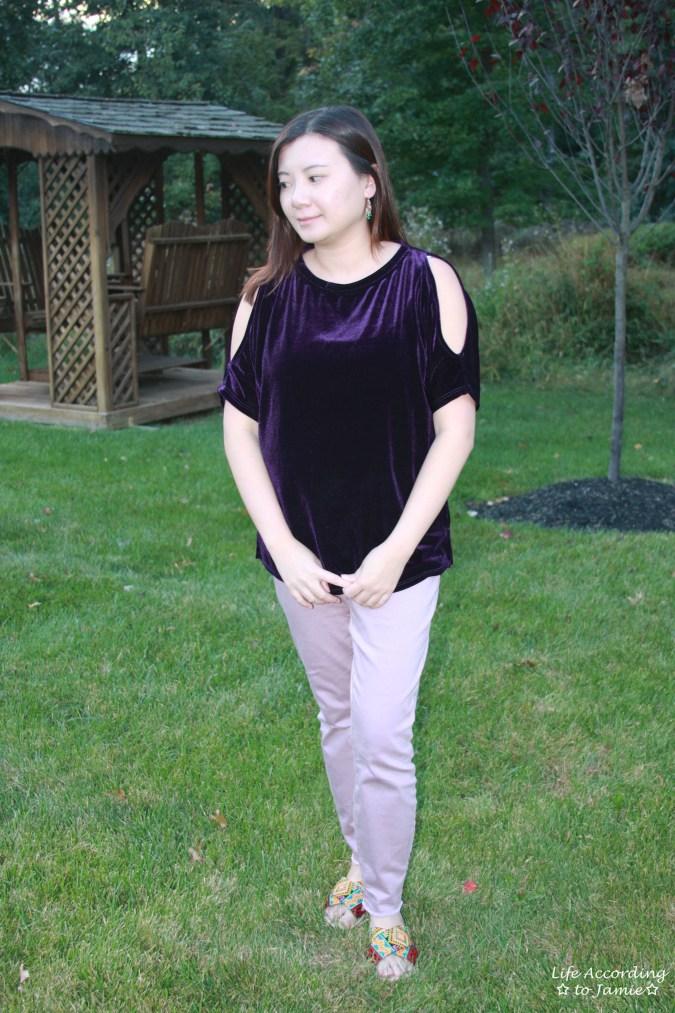 Purple Velvet Cold Shoulder 12