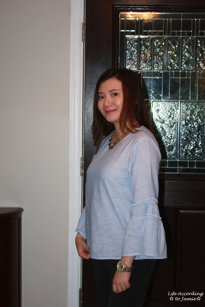 Ruffle Sleeve Blouse + Ombre Stone Necklace 10
