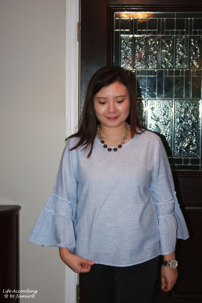 Ruffle Sleeve Blouse + Ombre Stone Necklace 11