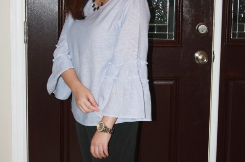 Ruffle Sleeve Blouse + Ombre Stone Necklace