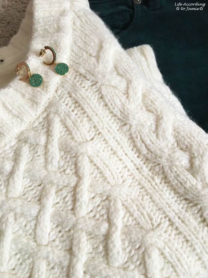 Cable Knit + Green Velvet + Green Pave Drop Earrings