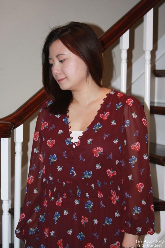 Floral Smocked Waist Midi Dress 8