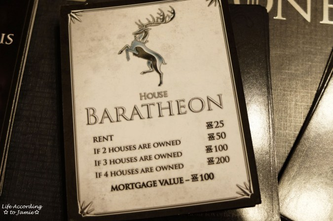 Game of Thrones Monopoly - Property Cards