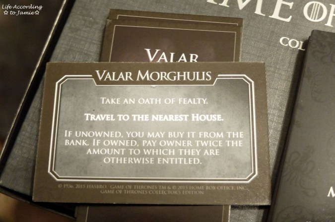 Game of Thrones Monopoly - Valar Morghulis Cards