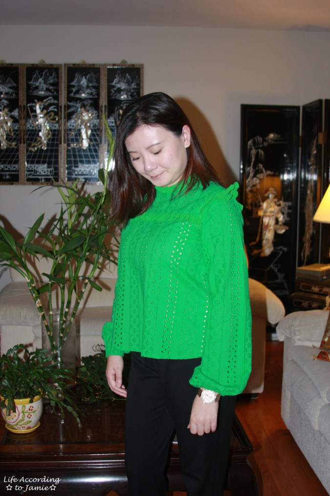 Green Broderie Lace Smock Top 4