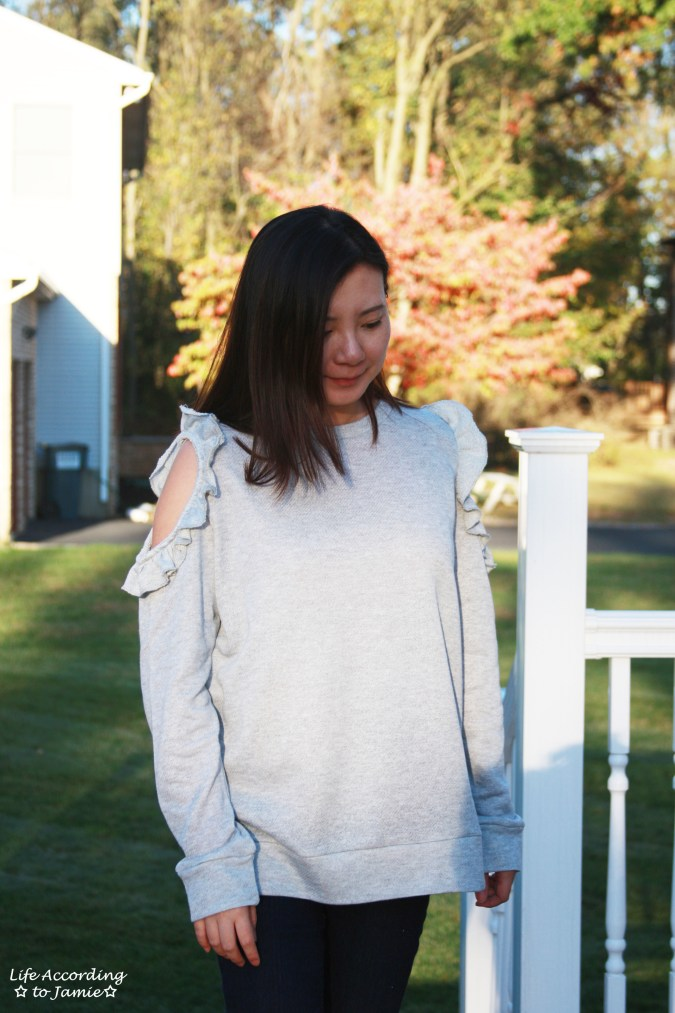 Grey Ruffle Trim Cold Shoulder Sweatshirt 10