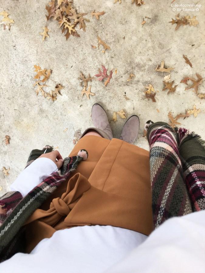 Olive Green Plaid Ruana + Foldover Wrap Skirt 12