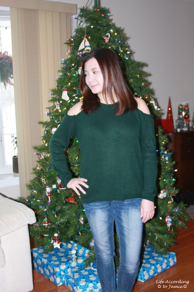 Pine Green Cold Shoulder