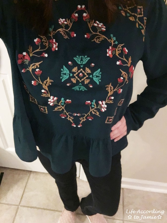Teal Embroidered Peplum 1