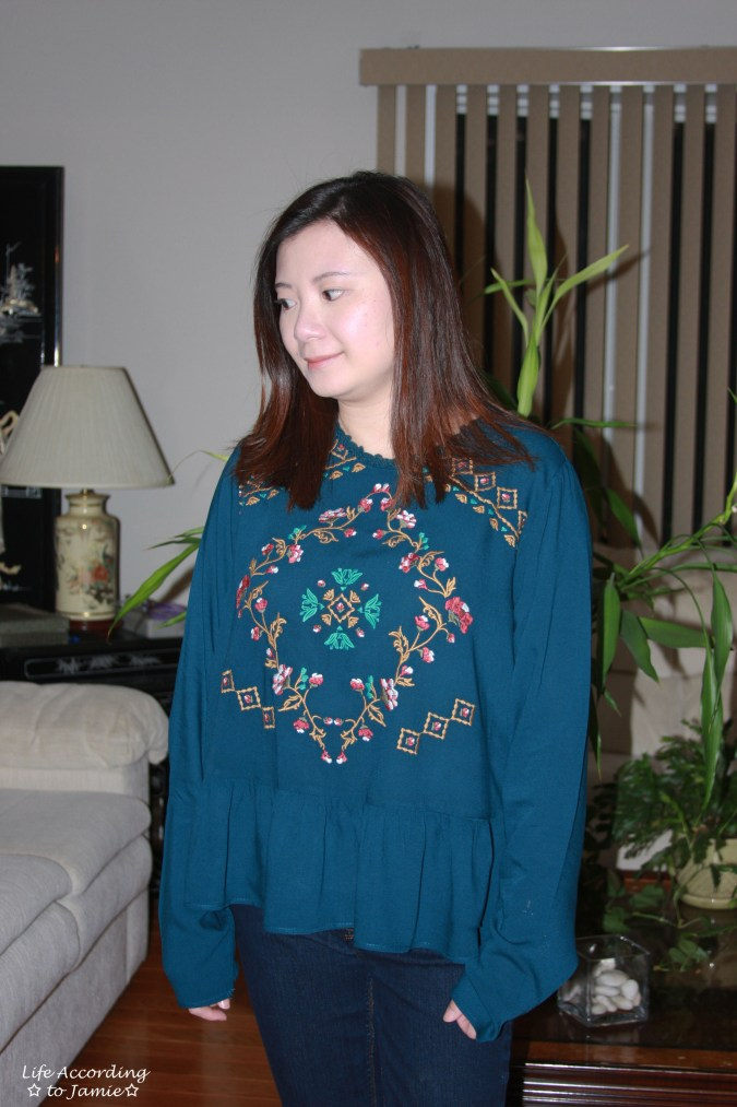 Teal Embroidered Peplum 10