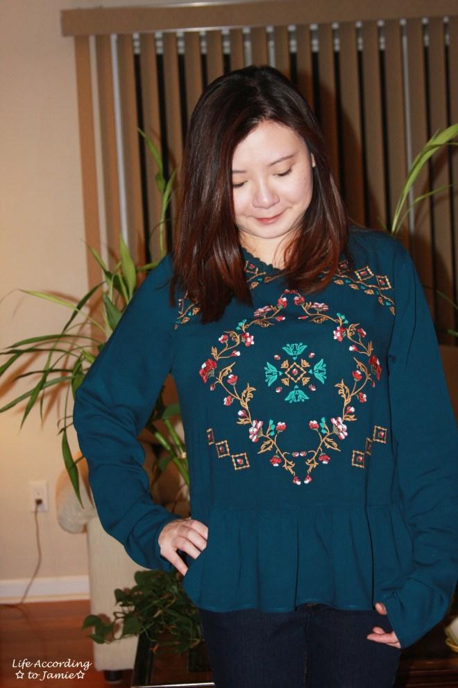 Teal Embroidered Peplum 8