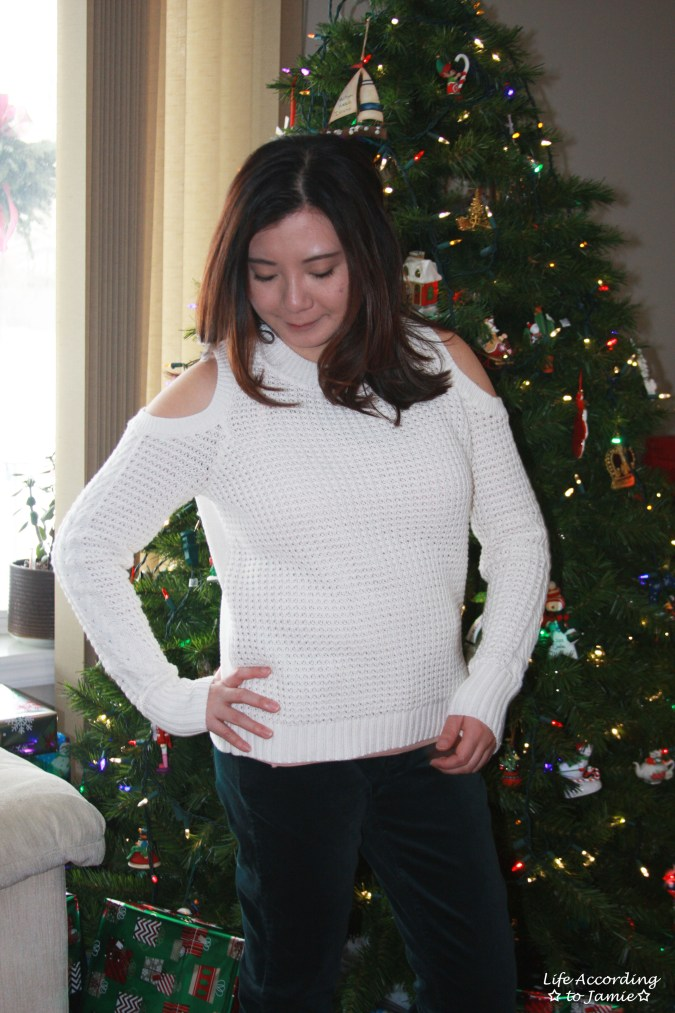 White Cold Shoulder Sweater 4