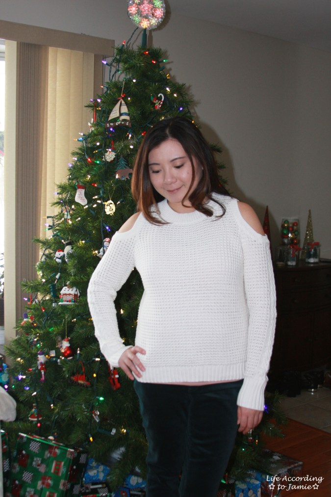 White Cold Shoulder Sweater 6