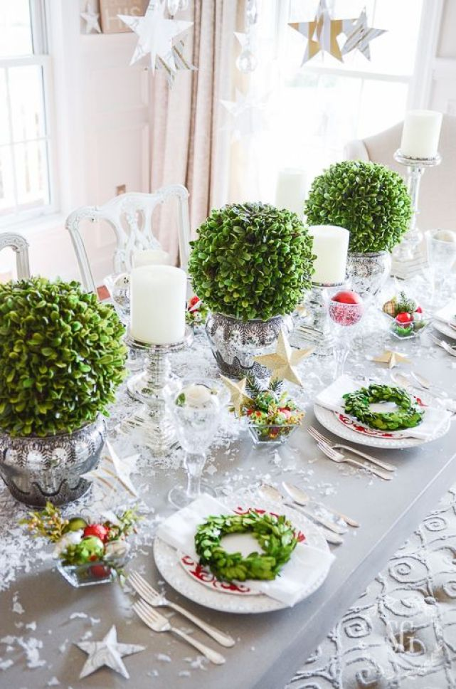 christmas tablescape - boxwood bouquets