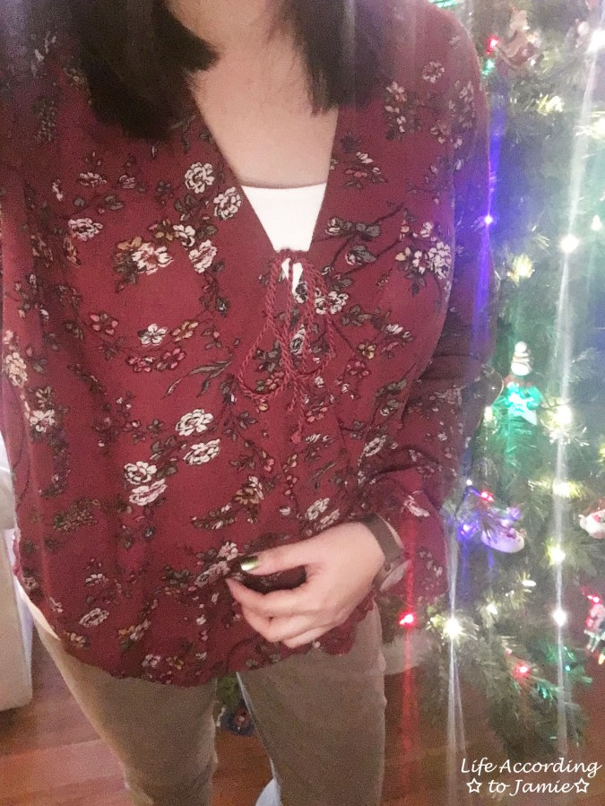 Burgundy Floral Wrap Top 1