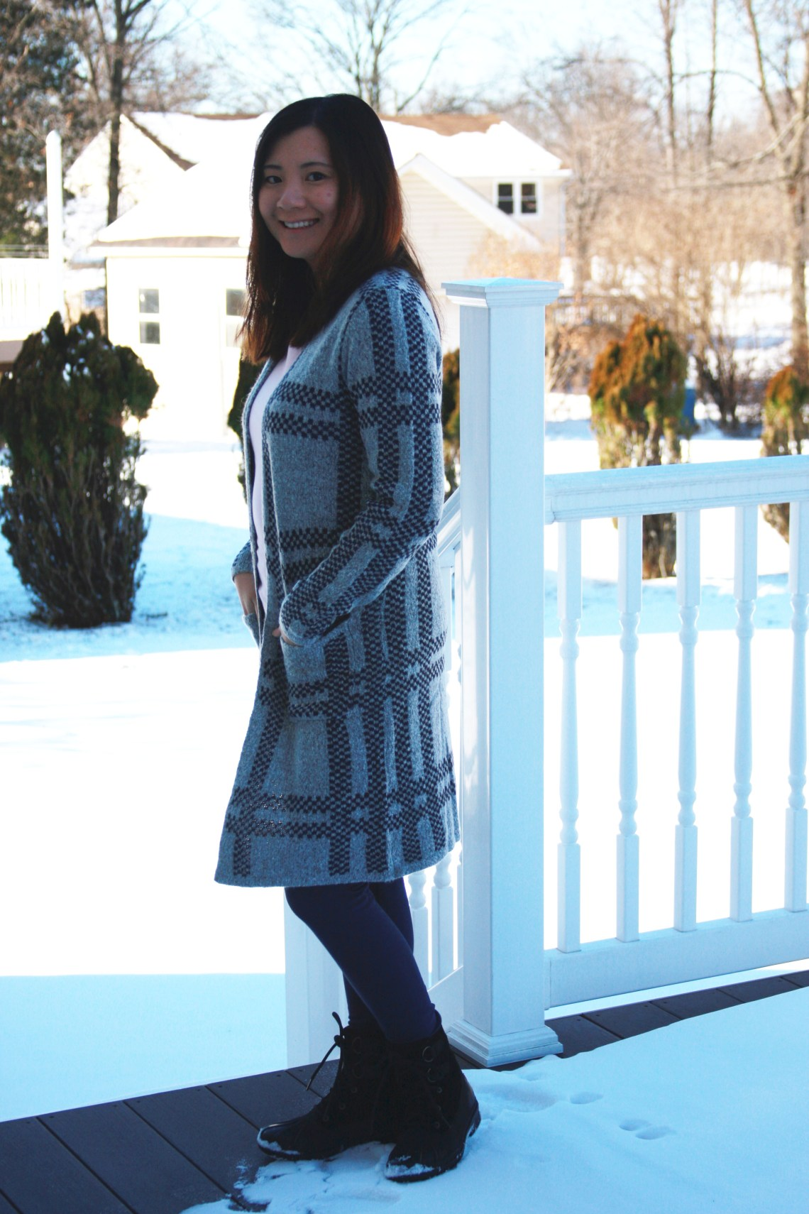 Grey & Navy Long Line Cardigan