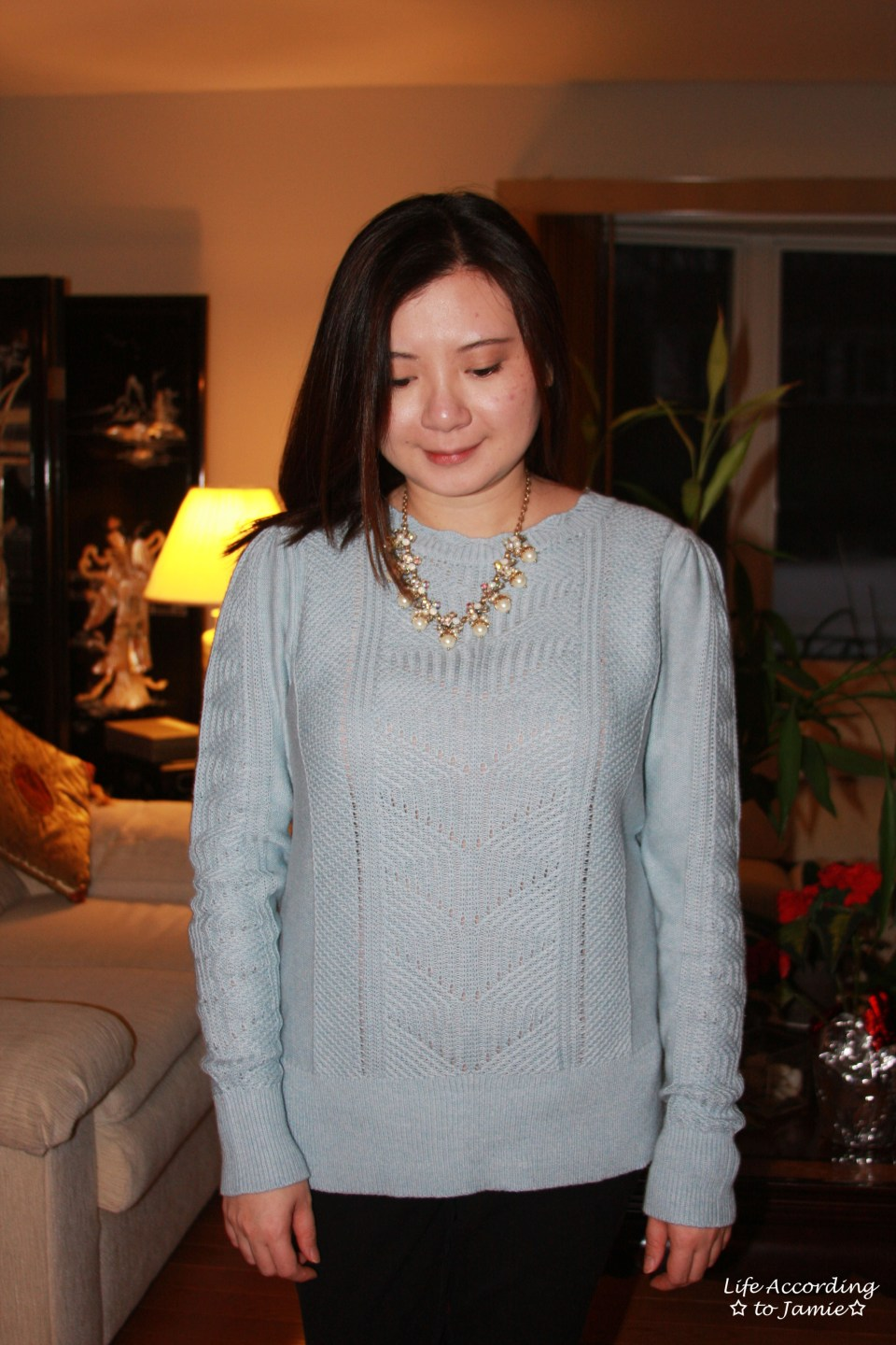 Mixed Chevron Sweater + Pearl Statement Necklace 12