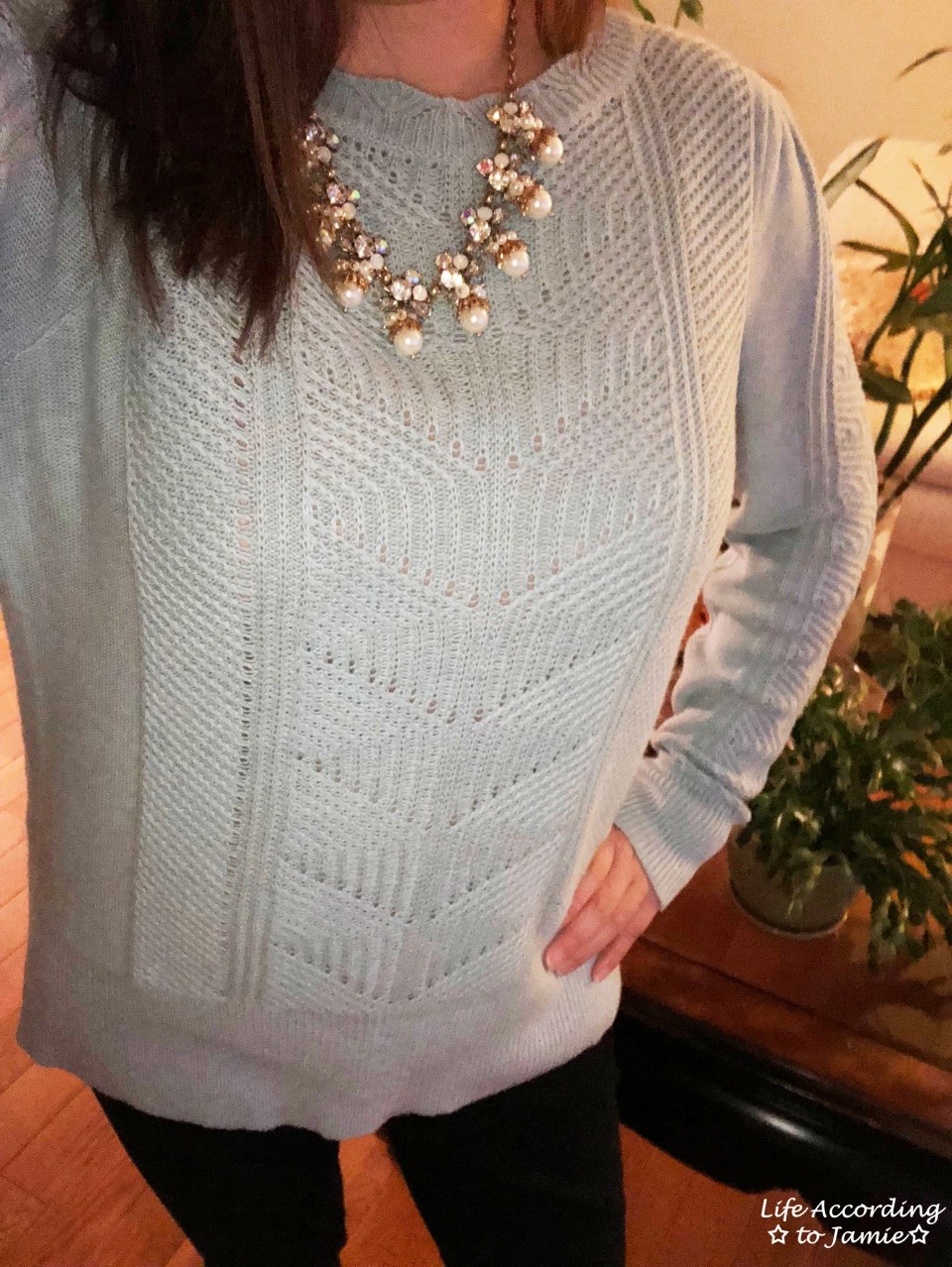 Mixed Chevron Sweater + Pearl Statement Necklace 2