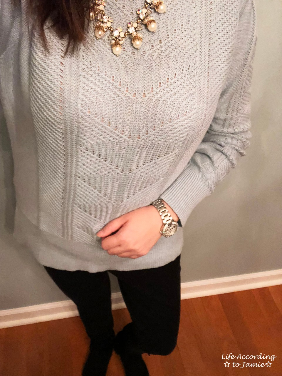 Mixed Chevron Sweater + Pearl Statement Necklace 4