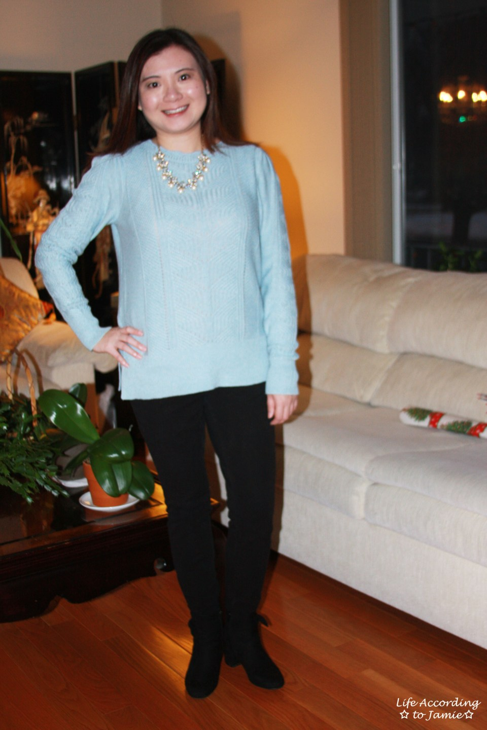 Mixed Chevron Sweater + Pearl Statement Necklace 5