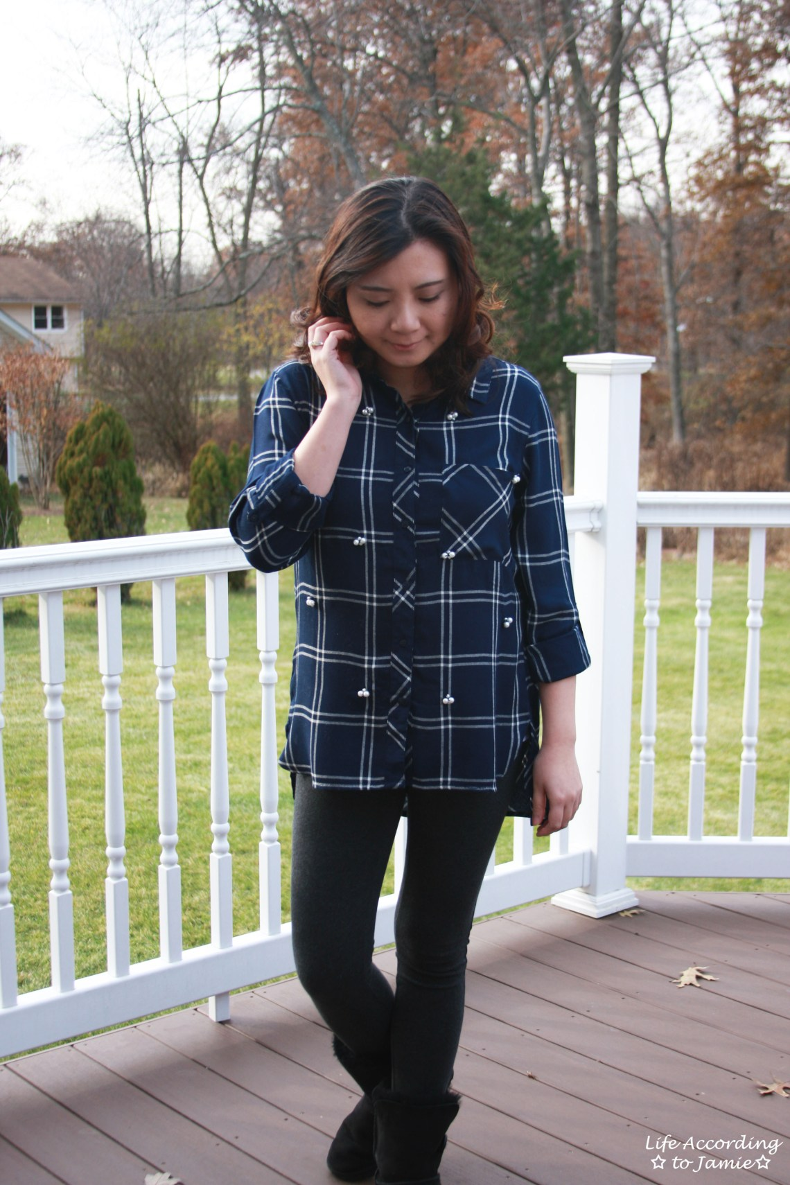 Pearl Embellished Plaid