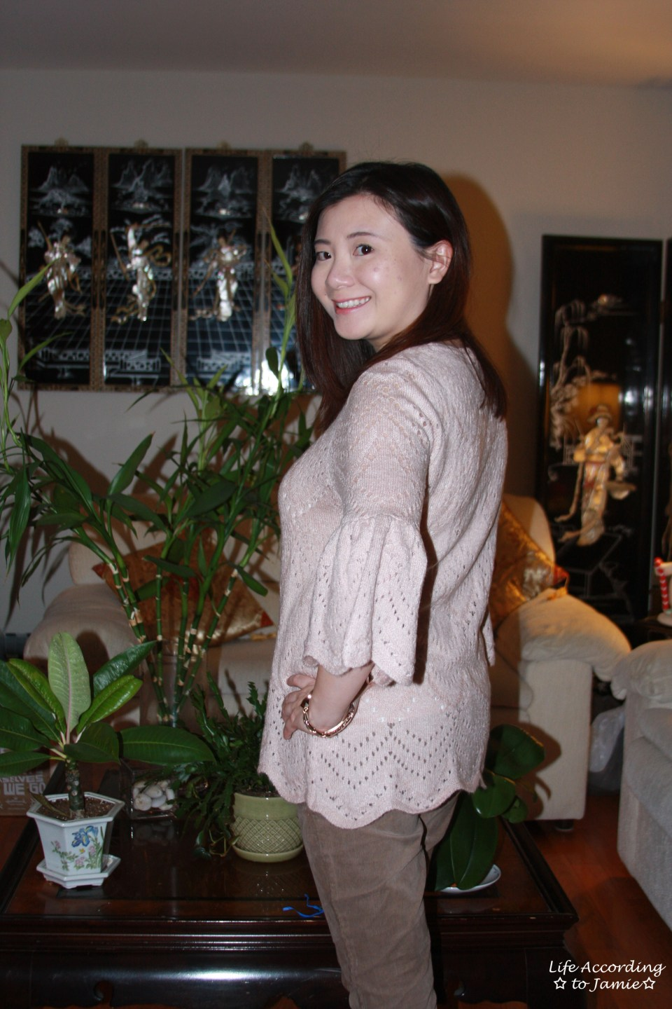 Pink Silhouette Bell Sleeve Sweater 1