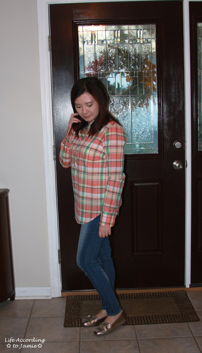 Plaid Henley + Gold Metallic Loafers 1
