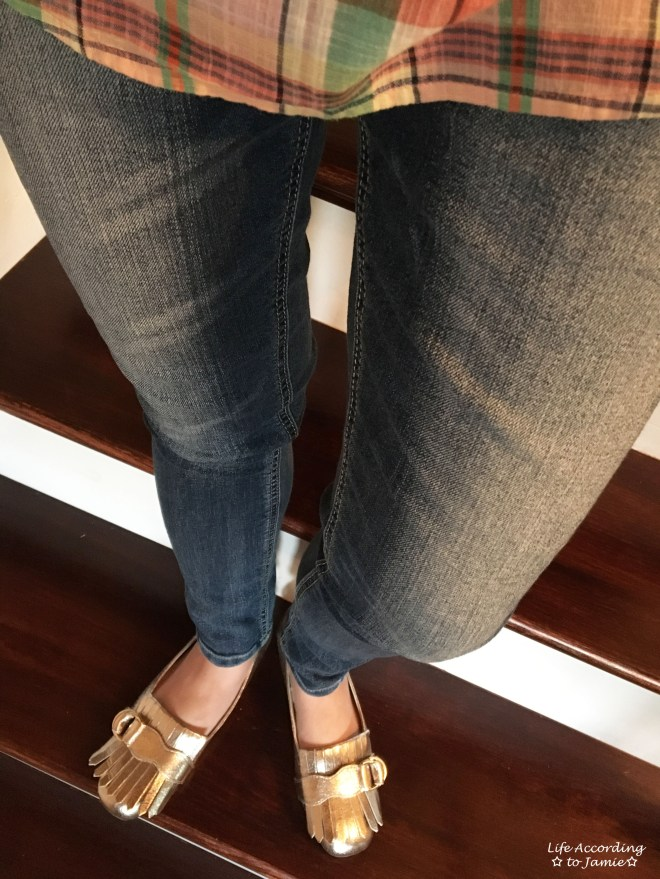 Plaid Henley + Gold Metallic Loafers 10