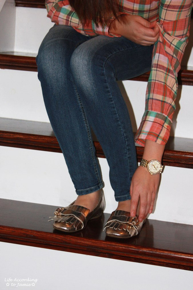 Plaid Henley + Gold Metallic Loafers 4