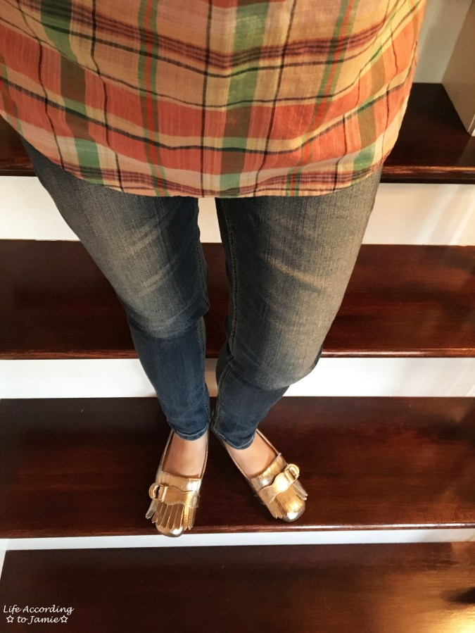 Plaid Henley + Gold Metallic Loafers 9